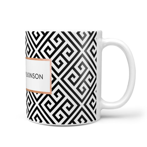 Personalised Black Pattern Name Or Initials Mug