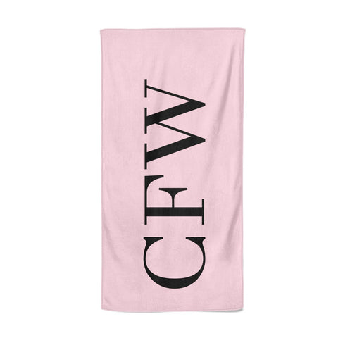 Personalised Black & Pink Side Initials Beach Towel