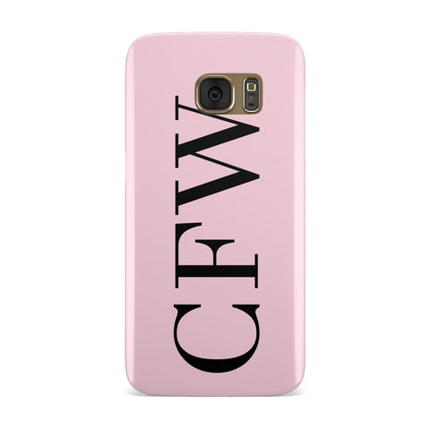 Personalised Black & Pink Side Initials Samsung Galaxy Case
