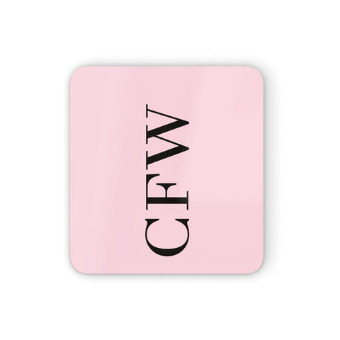 Personalised Black & Pink Side Initials Coasters set of 4
