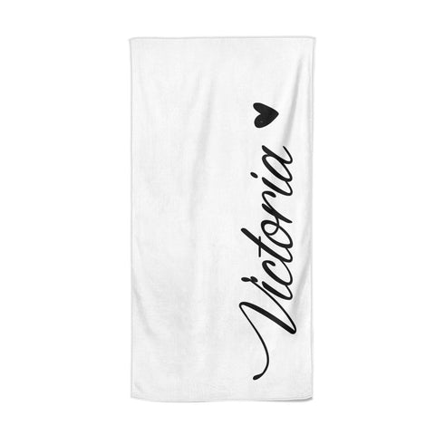 Personalised Black Script Name & Heart Clear Beach Towel