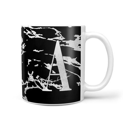 Personalised Black Silver Initial Mug
