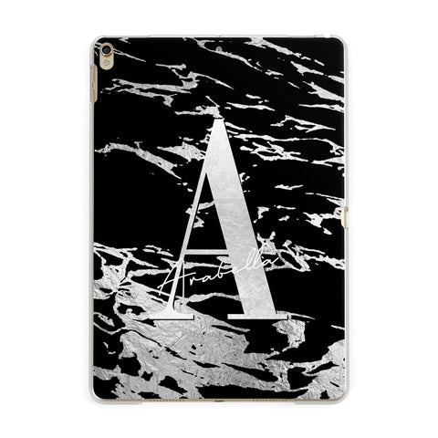 Personalised Black Silver Initial iPad Case