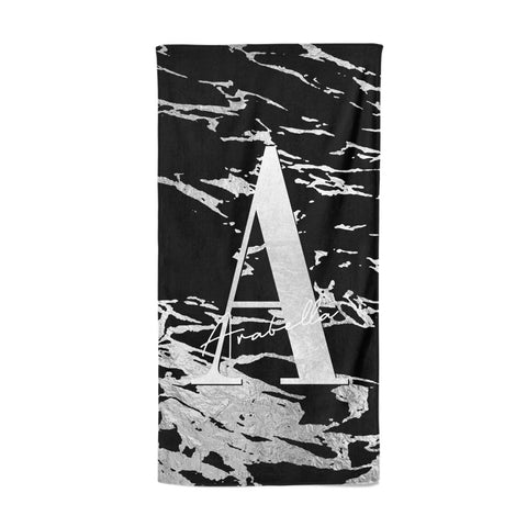 Personalised Black Silver Initial Beach Towel