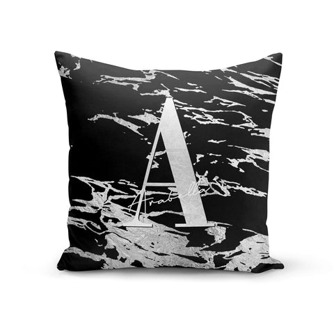 Personalised Black Silver Initial Cushion