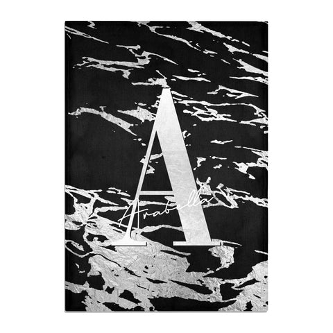 Personalised Black Silver Initial Tea Towel