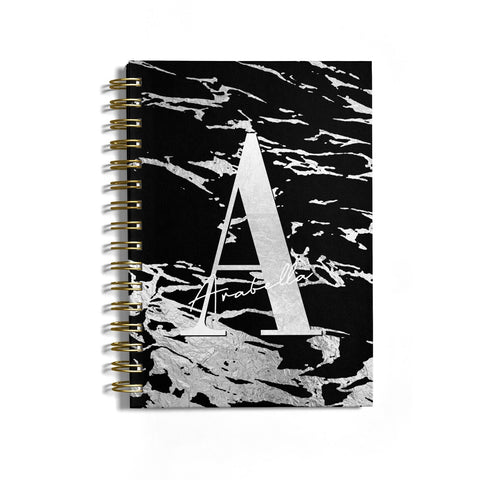Personalised Black Silver Initial Notebook