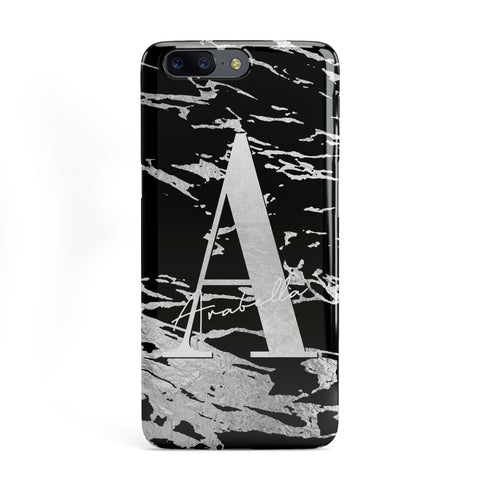 Personalised Black Silver Initial OnePlus Case