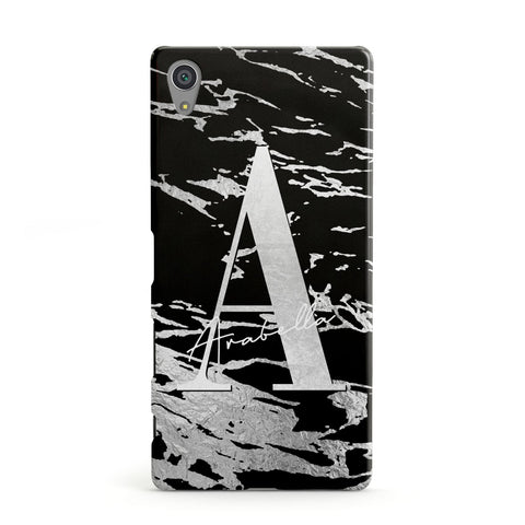 Personalised Black Silver Initial Sony Case