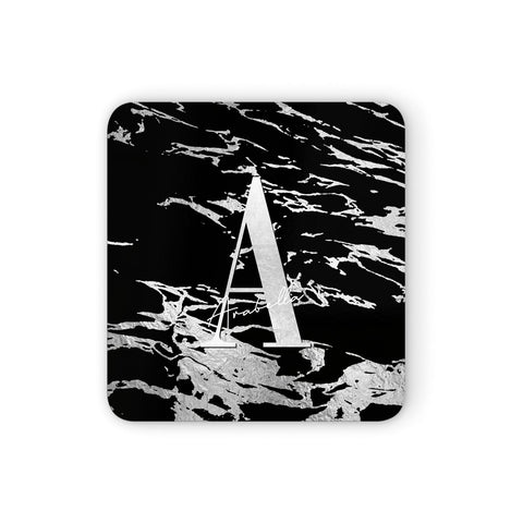 Personalised Black Silver Initial Coasters set of 4