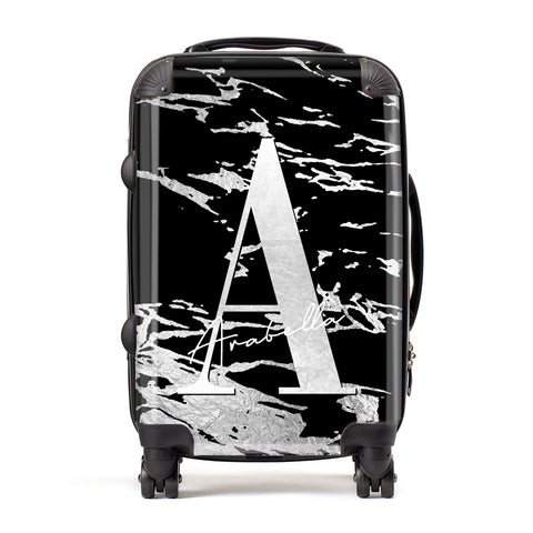 Personalised Black Silver Initial Suitcase