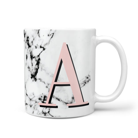 Personalised Block Coral Monogram Marble Mug