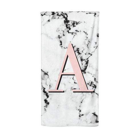 Personalised Block Coral Monogram Marble Beach Towel