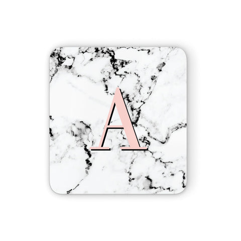 Personalised Block Coral Monogram Marble Coasters set of 4