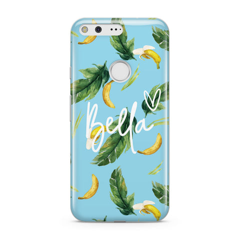 Personalised Blue Banana Tropical Google Case