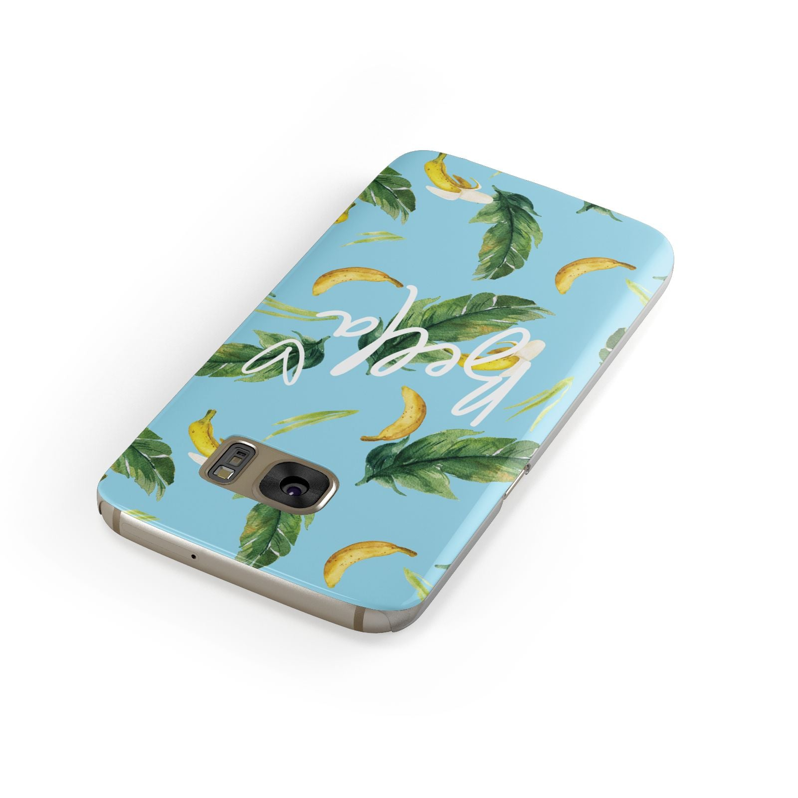 Personalised Blue Banana Tropical Samsung Galaxy Case Front Close Up
