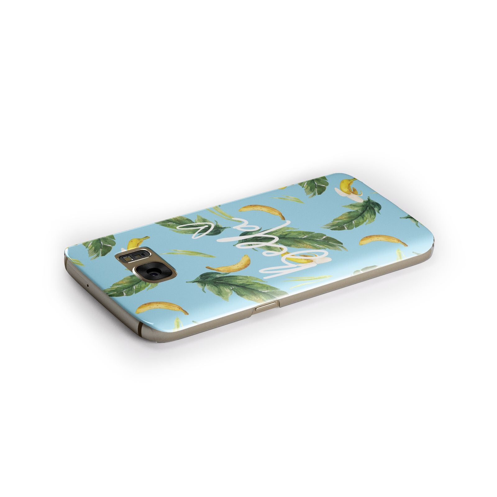 Personalised Blue Banana Tropical Samsung Galaxy Case Side Close Up