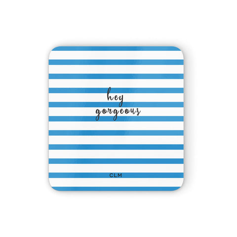 Personalised Blue Hey Gorgeous Coasters set of 4