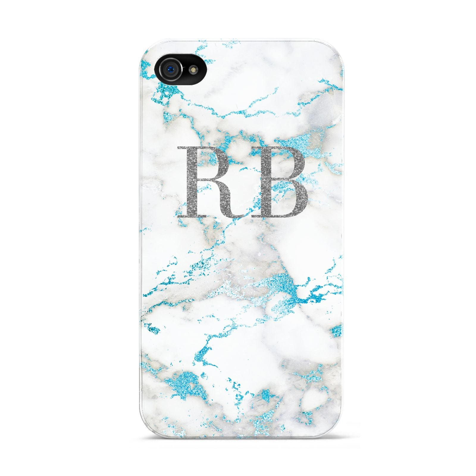 Personalised Blue Marble Initials Apple iPhone 4s Case
