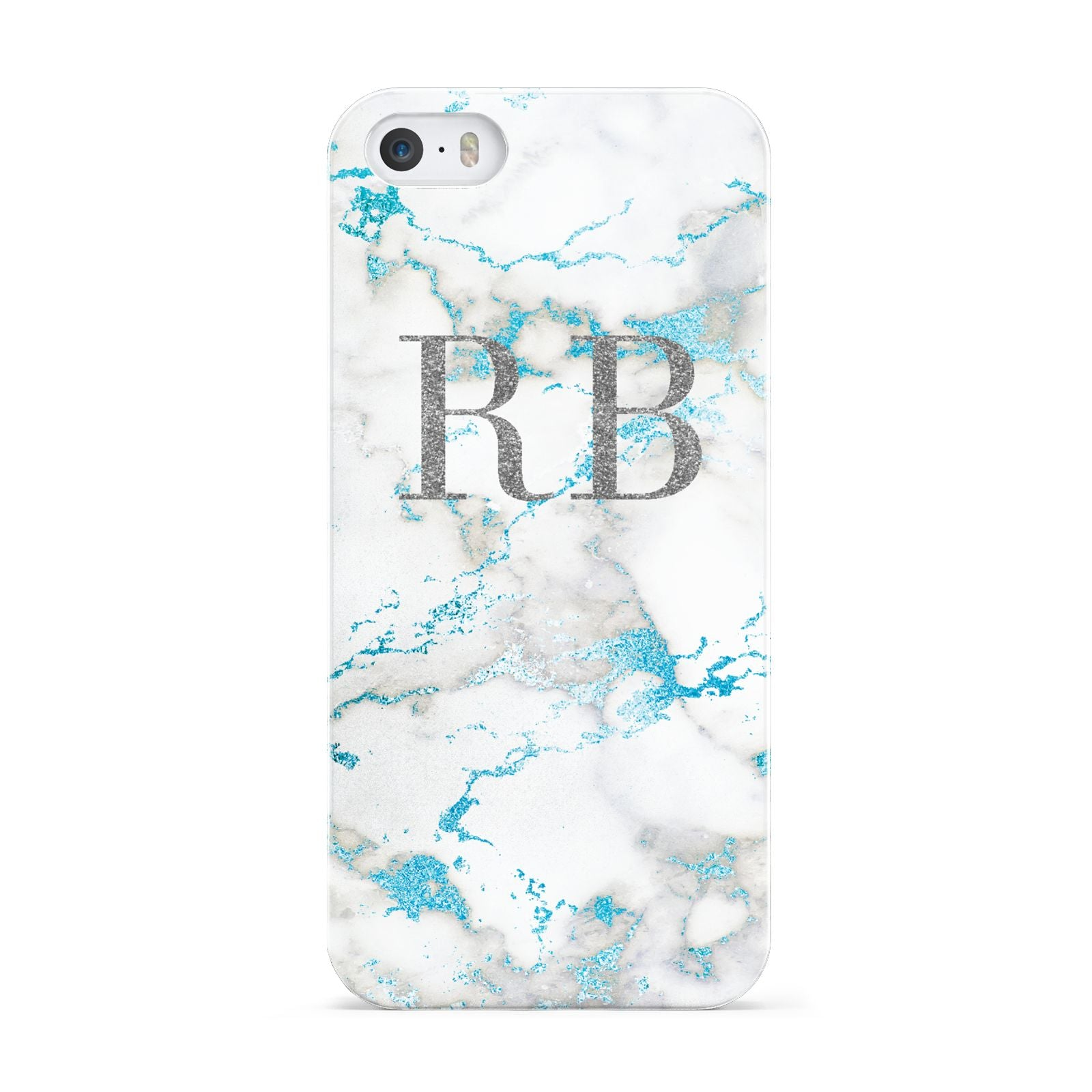 Personalised Blue Marble Initials Apple iPhone 5 Case