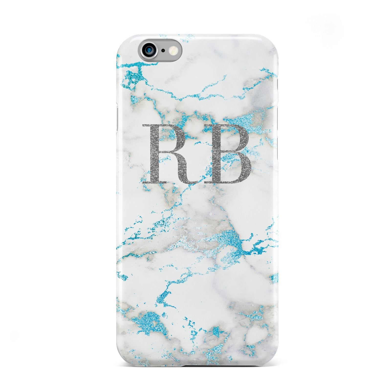Personalised Blue Marble Initials Apple iPhone 6 Case