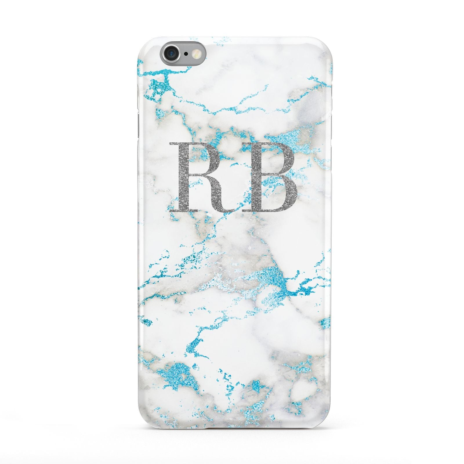 Personalised Blue Marble Initials Apple iPhone 6 Plus Case
