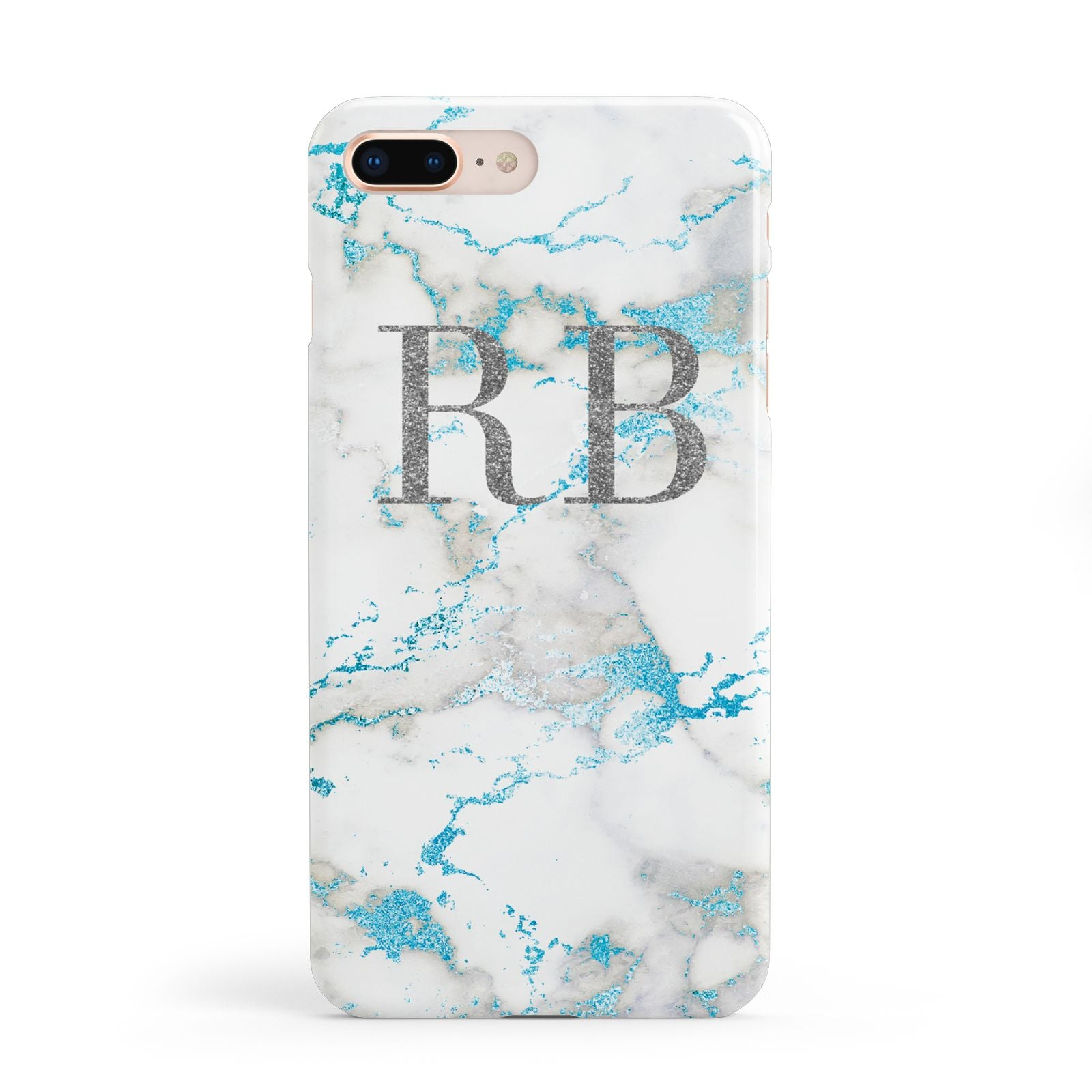 Personalised Blue Marble Initials Apple iPhone 8 Plus Case