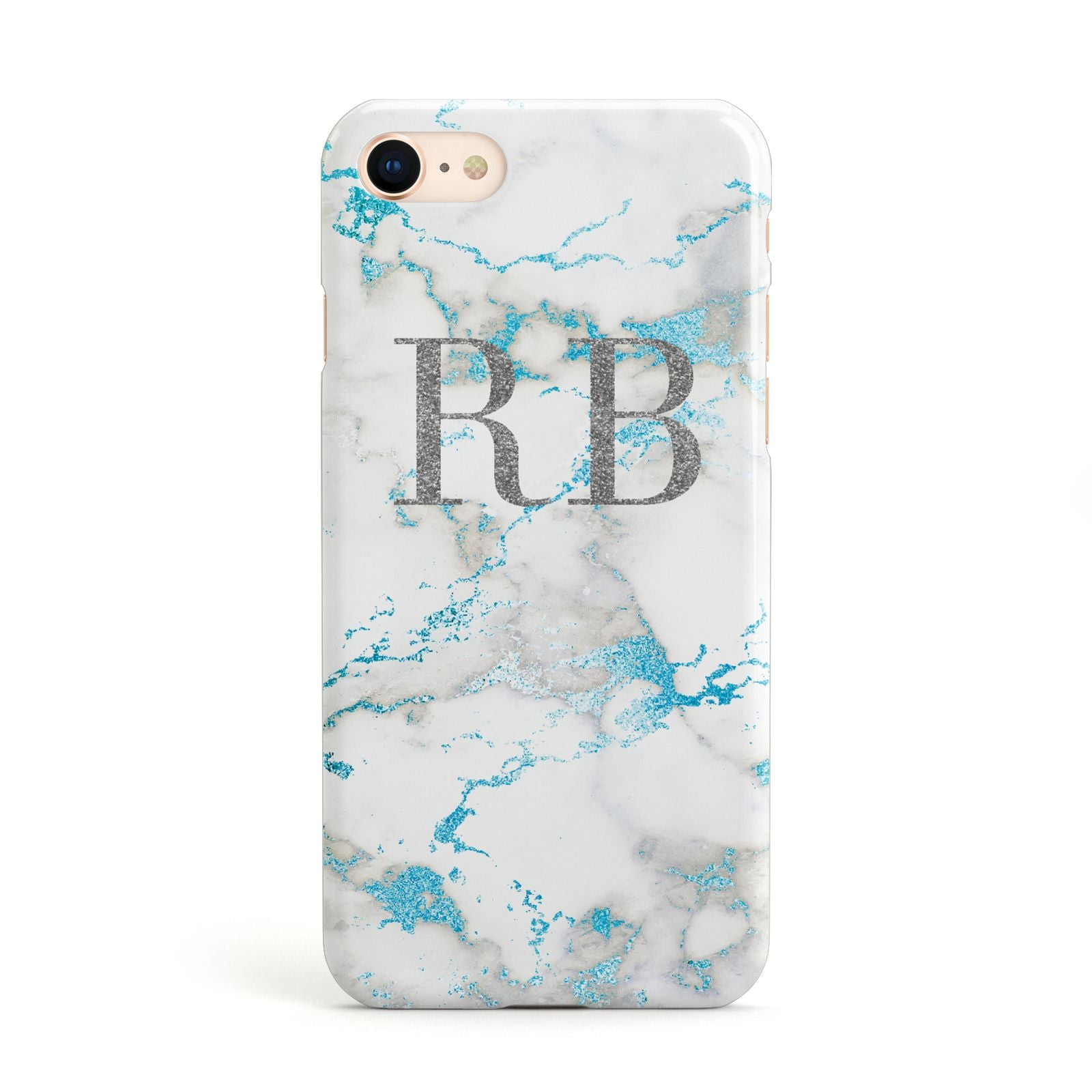 Personalised Blue Marble Initials Apple iPhone Case