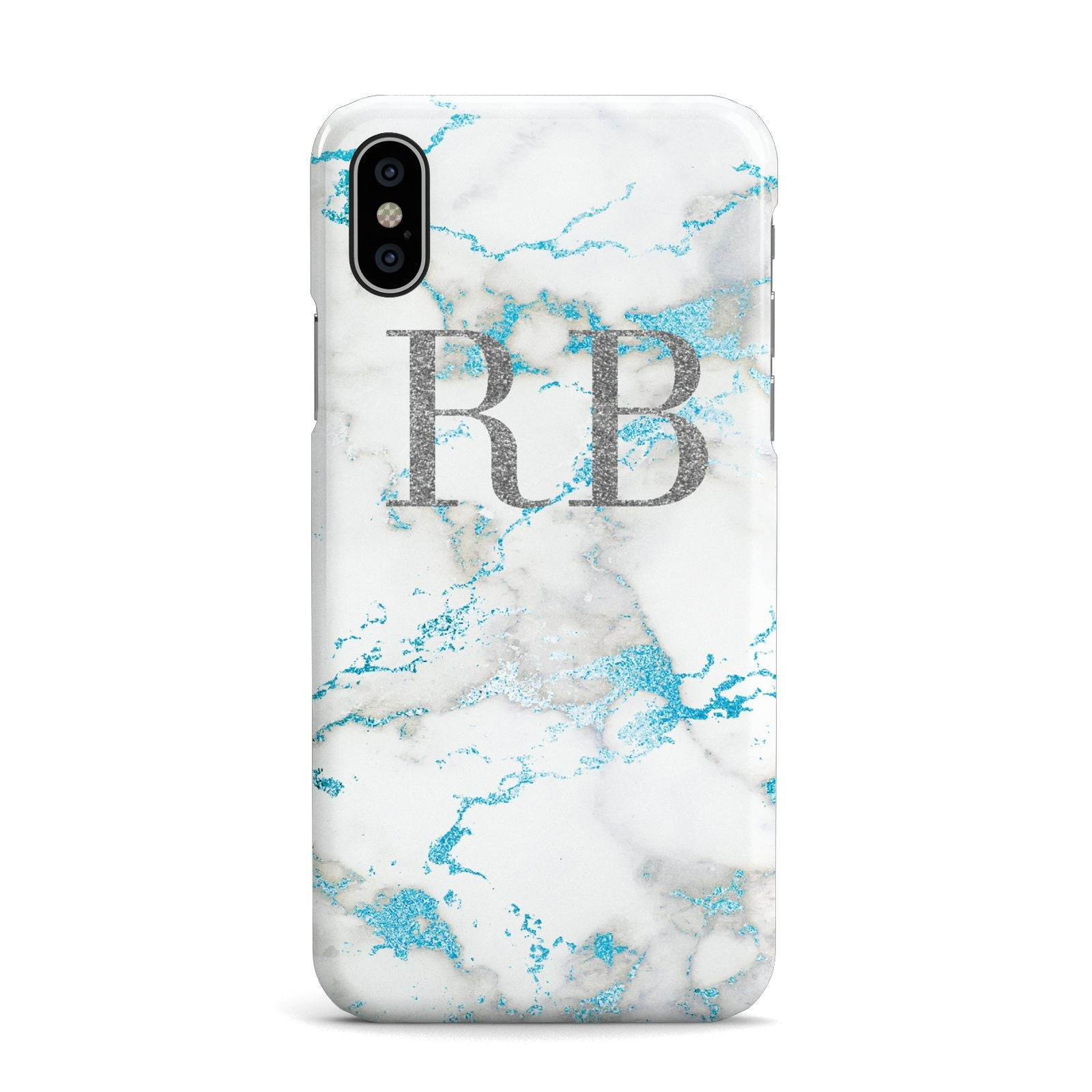 Personalised Blue Marble Initials Apple iPhone X Case