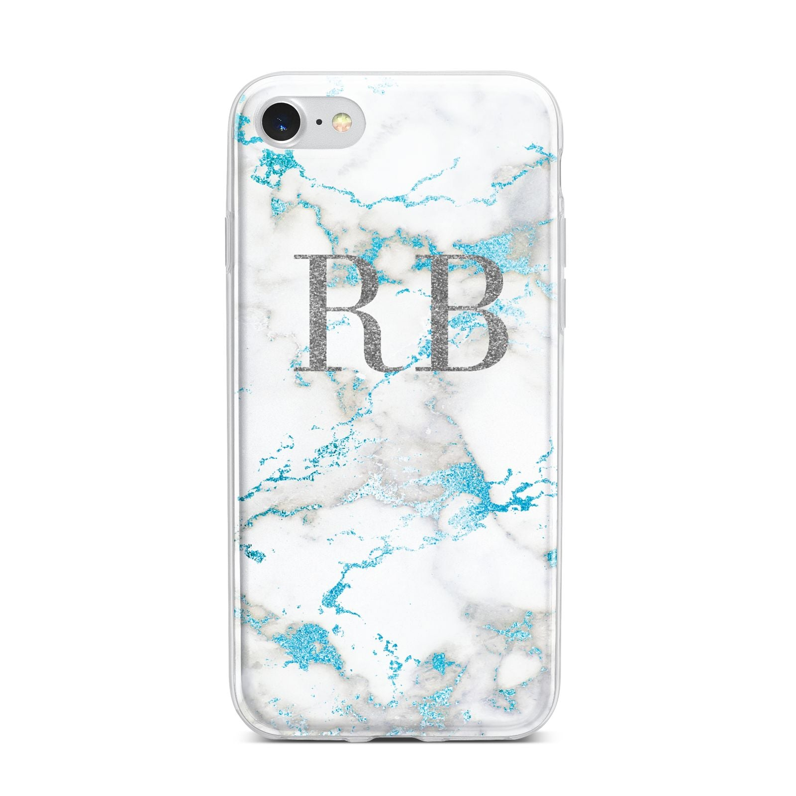 Personalised Blue Marble Initials iPhone 7 Bumper Case on Silver iPhone