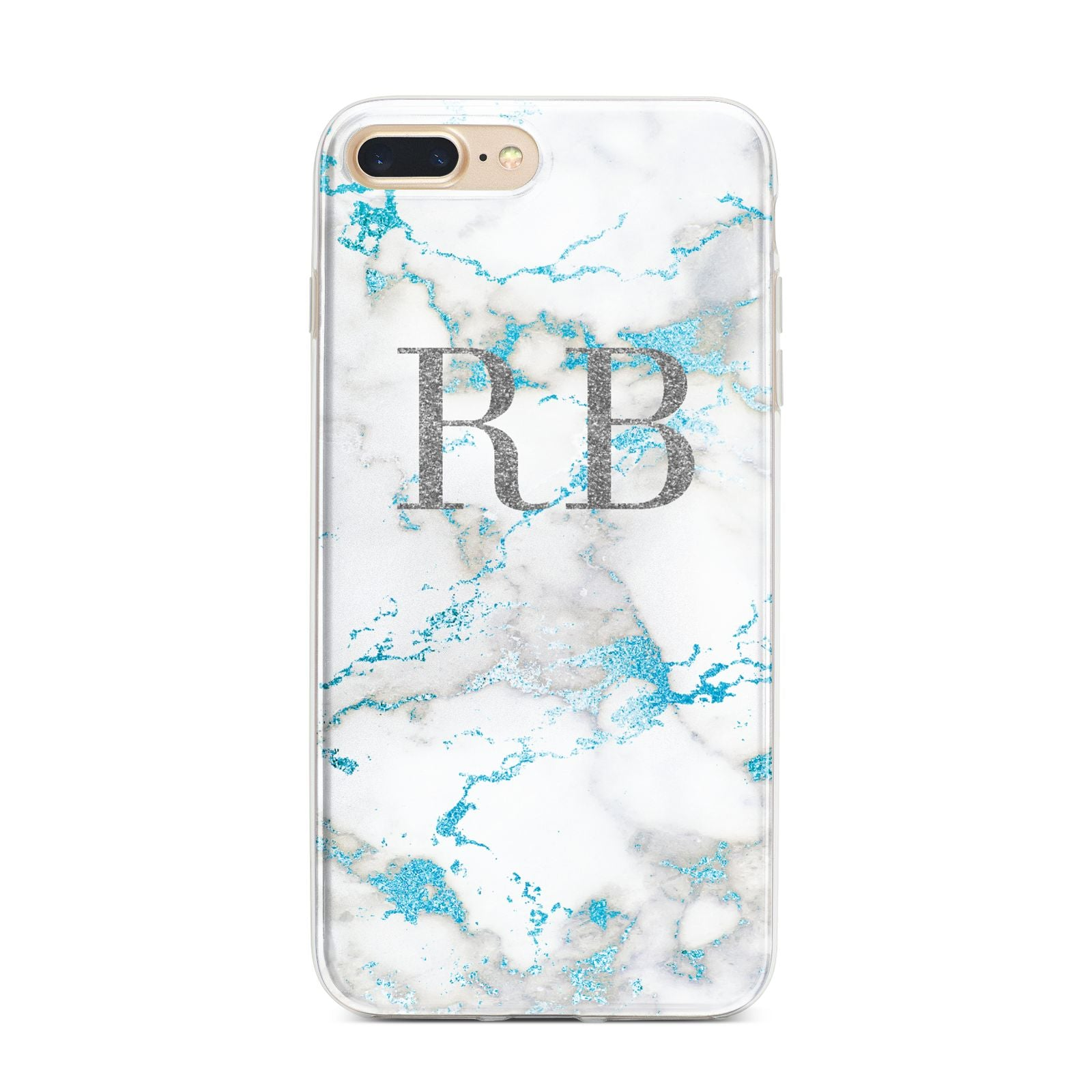 Personalised Blue Marble Initials iPhone 7 Plus Bumper Case on Gold iPhone