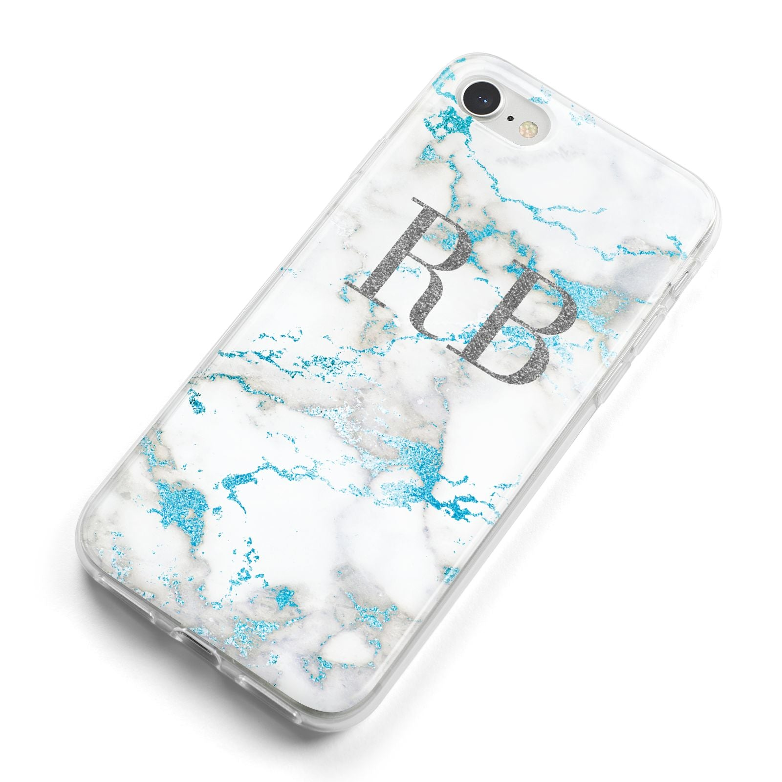Personalised Blue Marble Initials iPhone 8 Bumper Case on Silver iPhone Alternative Image