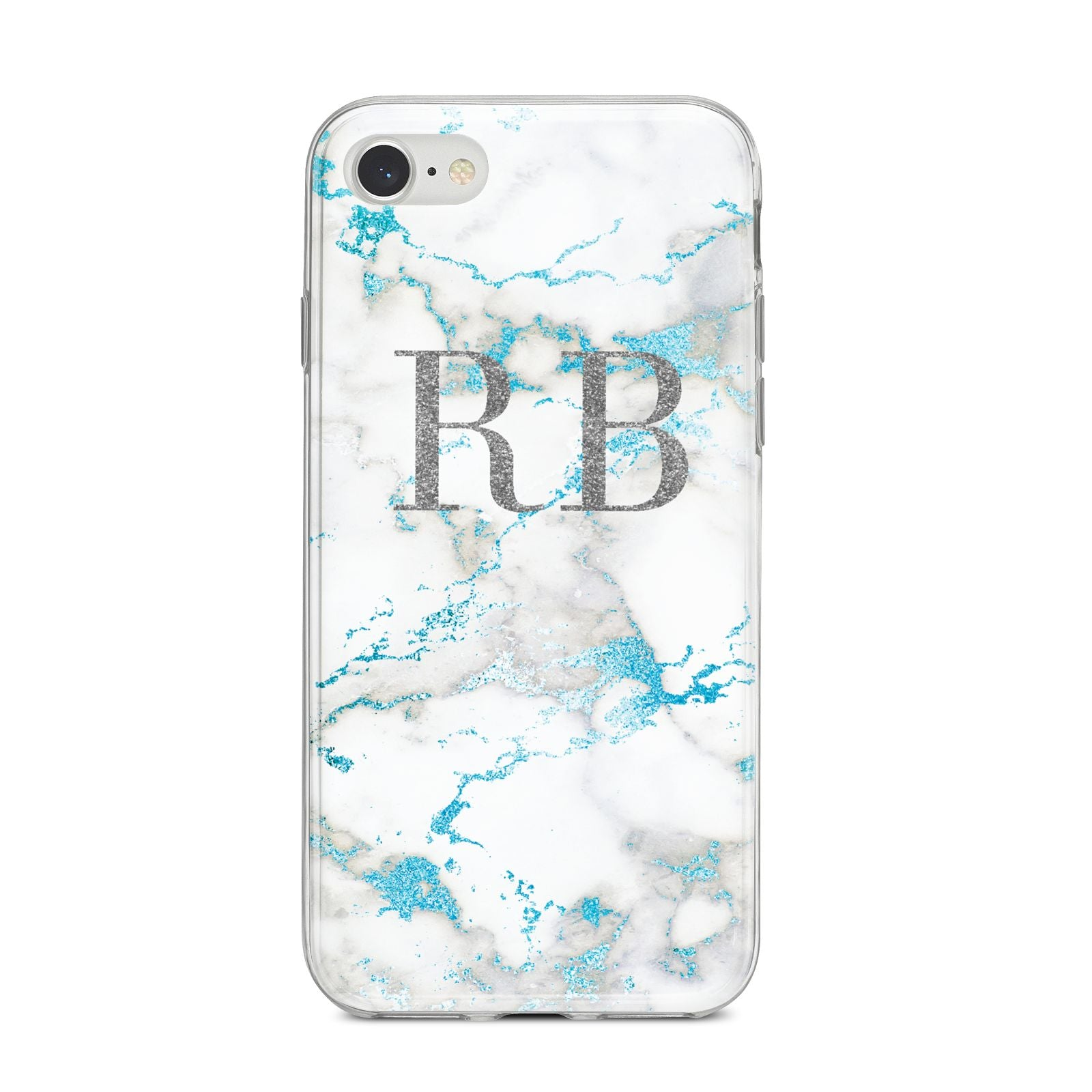 Personalised Blue Marble Initials iPhone 8 Bumper Case on Silver iPhone