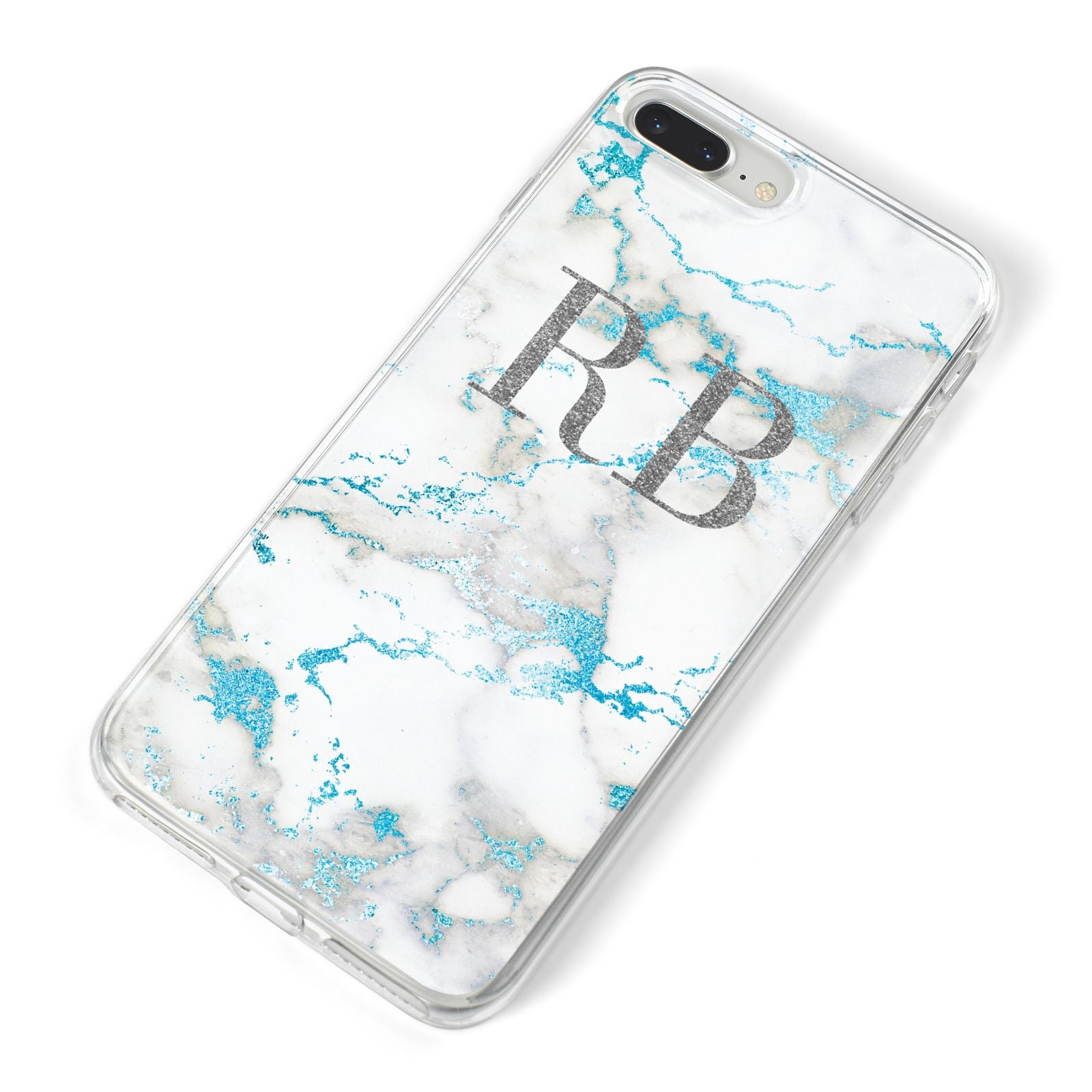 Personalised Blue Marble Initials iPhone 8 Plus Bumper Case on Silver iPhone Alternative Image