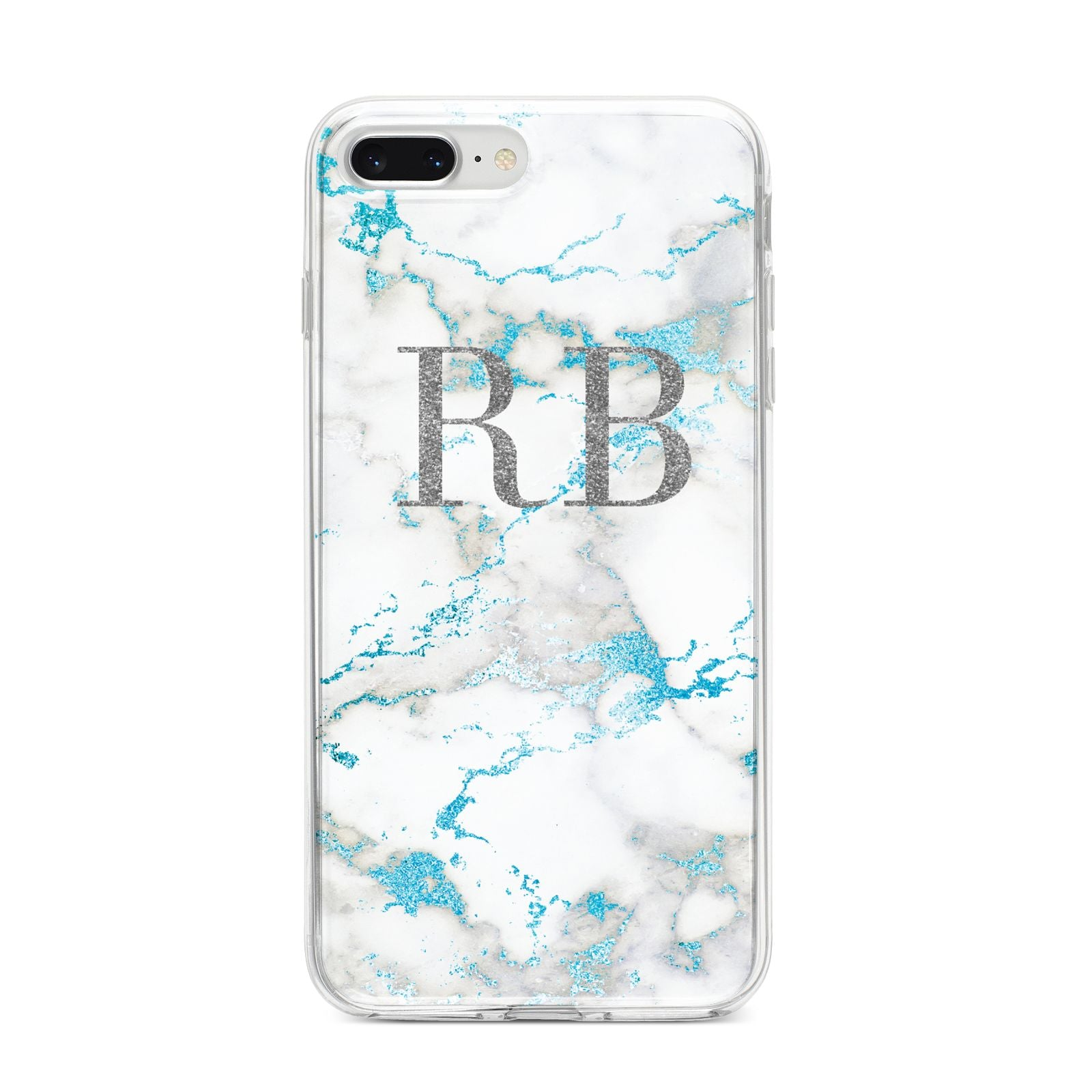 Personalised Blue Marble Initials iPhone 8 Plus Bumper Case on Silver iPhone