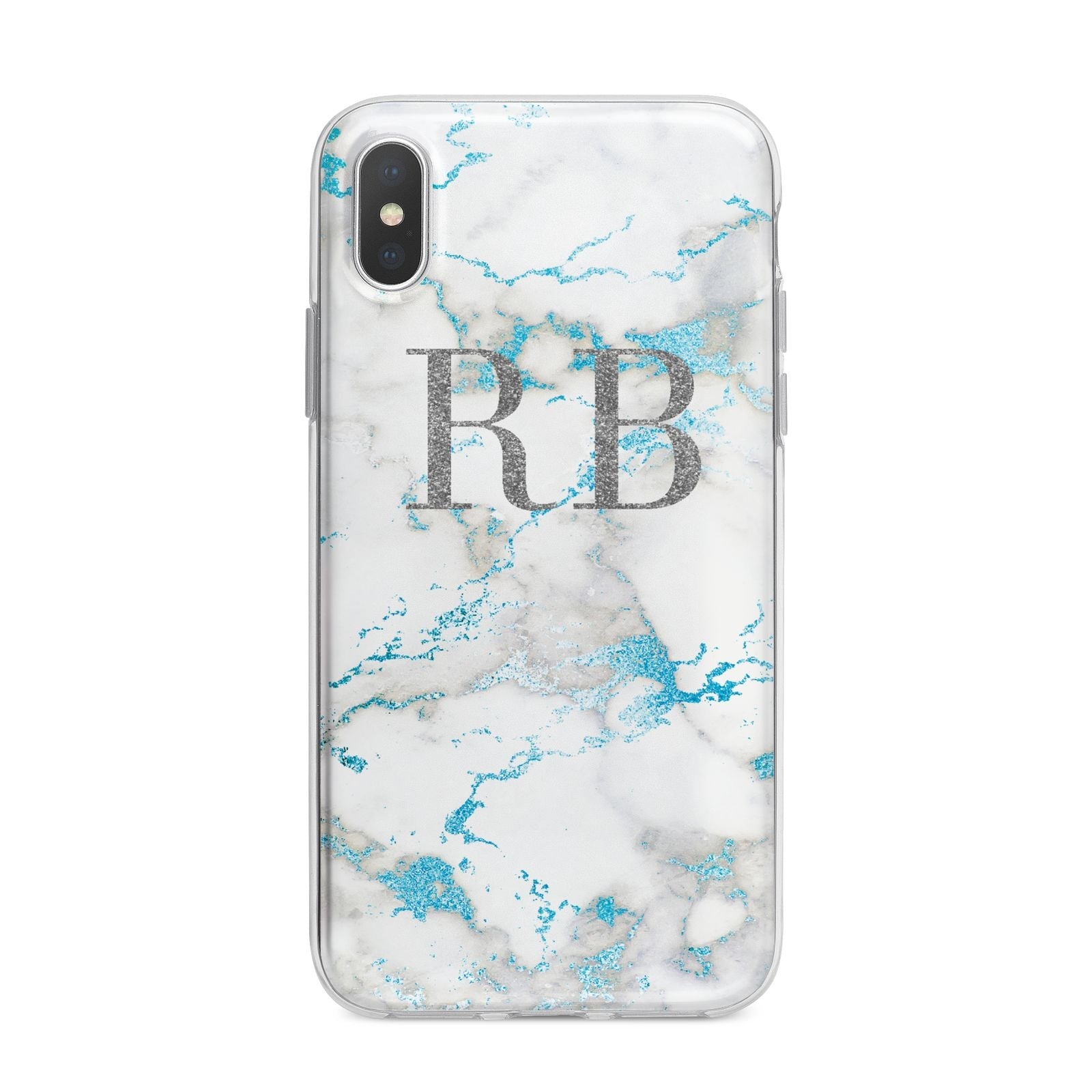 Personalised Blue Marble Initials iPhone X Bumper Case on Silver iPhone Alternative Image 1
