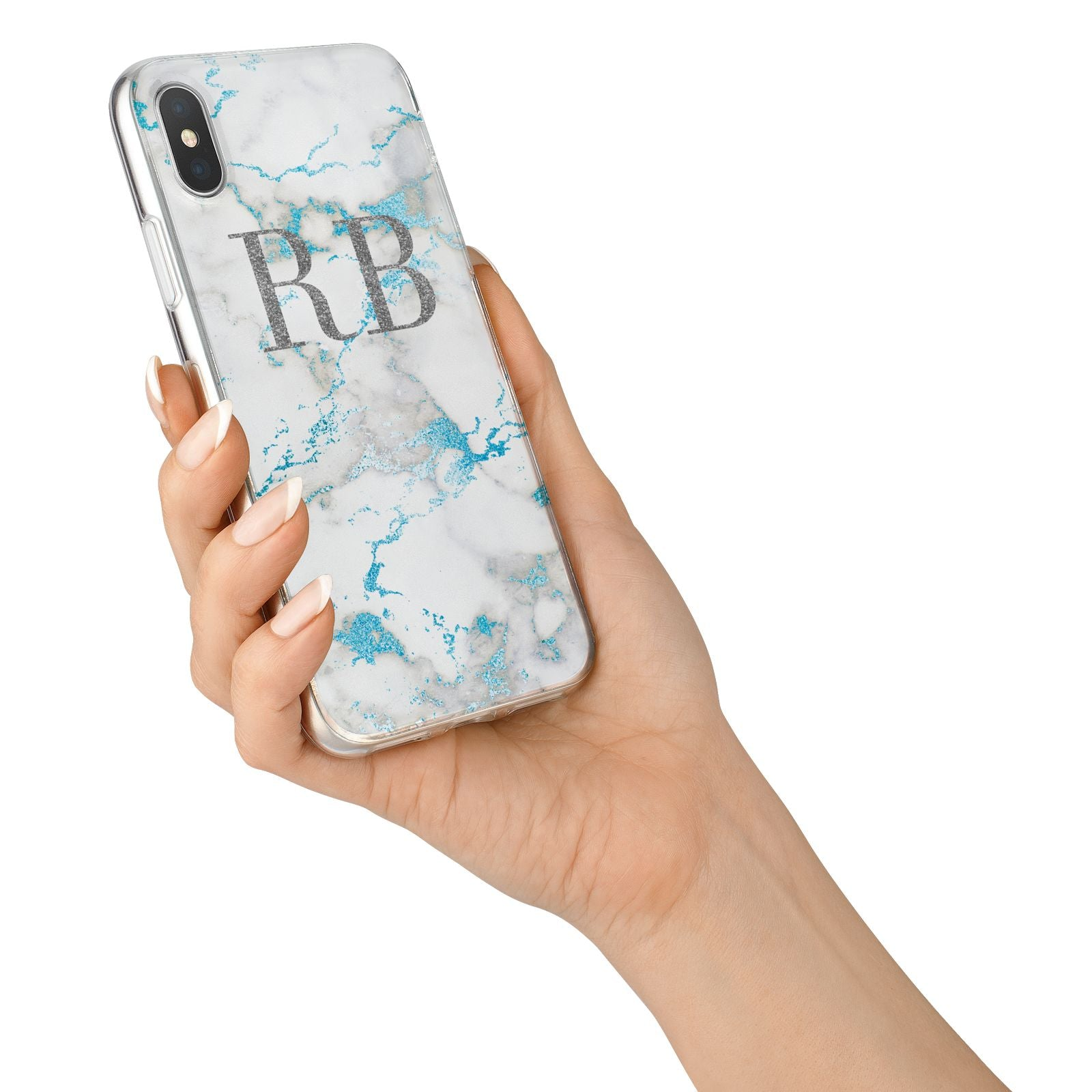 Personalised Blue Marble Initials iPhone X Bumper Case on Silver iPhone Alternative Image 2