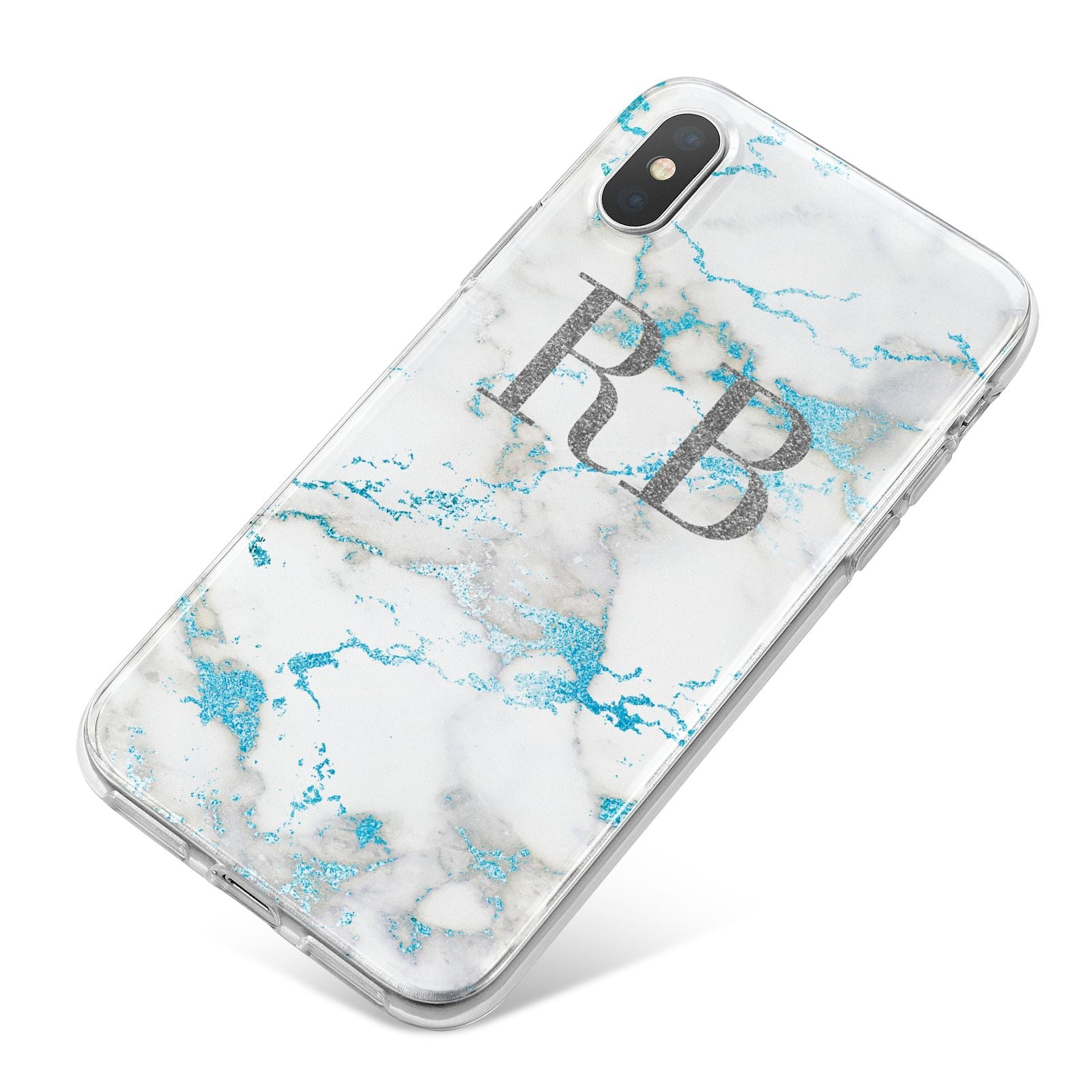 Personalised Blue Marble Initials iPhone X Bumper Case on Silver iPhone