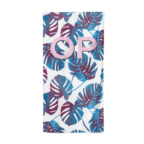 Personalised Blue Monstera Leaves Beach Towel