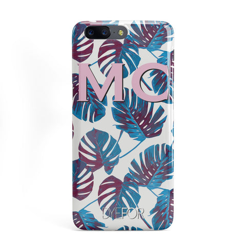 Personalised Blue Monstera Leaves OnePlus Case