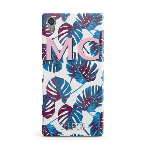 Personalised Blue Monstera Leaves Sony Case