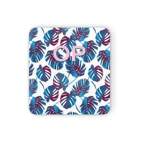 Personalised Blue Monstera Leaves Coasters set of 4