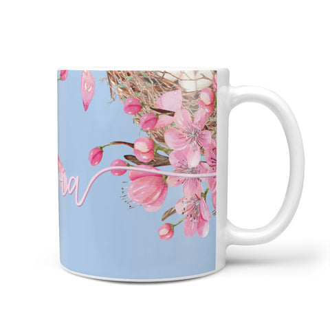 Personalised Blue & Pink Blossom Mug