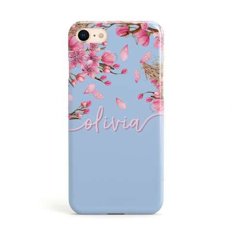 Personalised Blue & Pink Blossom Apple iPhone Case