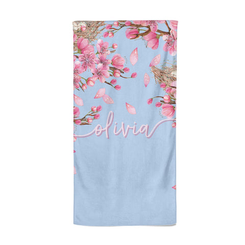 Personalised Blue & Pink Blossom Beach Towel