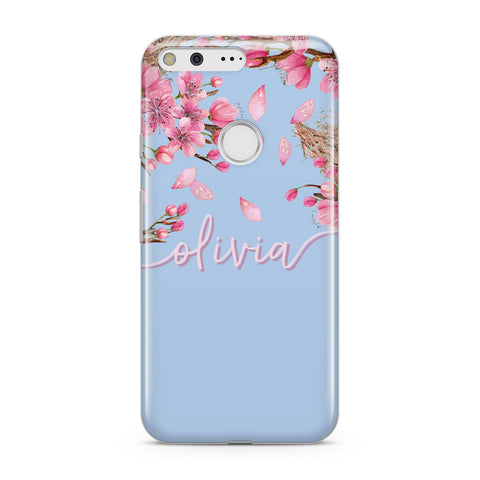 Personalised Blue & Pink Blossom Google Case