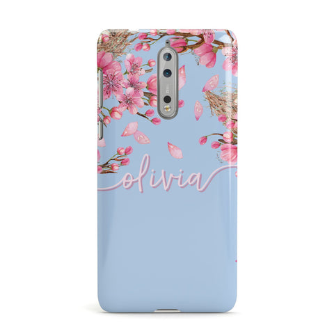 Personalised Blue & Pink Blossom Nokia Case