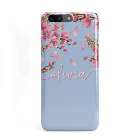 Personalised Blue & Pink Blossom OnePlus Case