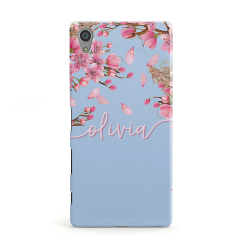 Personalised Blue & Pink Blossom Sony Case