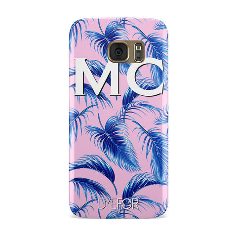 Personalised Blue & Pink Palm Leaf Samsung Galaxy Case